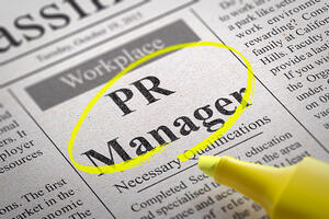 PR Manager Vacancy in Newspaper. Job Search Concept.